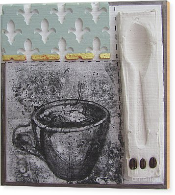 Still Life With Coffee Cup Beans And Spoon Wood Print by Peter Allan