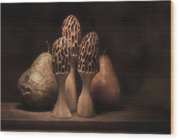 Still Life With Mushrooms And Pears I Wood Print by Tom Mc Nemar