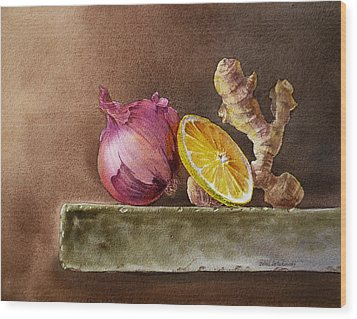 Still Life With Onion Lemon And Ginger Wood Print by Irina Sztukowski