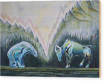 Stock Market Titans Wood Print by Sheila Kirk