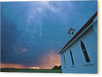 Storm Clouds Over Saskatchewan Country Church Wood Print by Mark Duffy