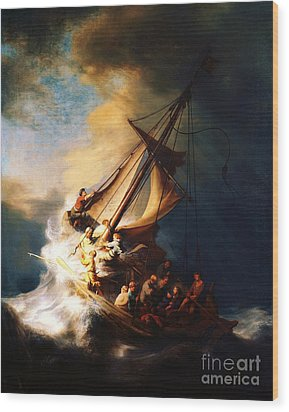 Storm On The Sea Of Galilee Wood Print by Pg Reproductions