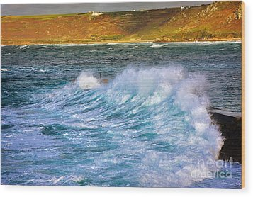 Storm Wave Wood Print by Louise Heusinkveld