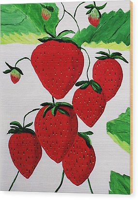 Wood Print featuring the painting Strawberries by Rodney Campbell