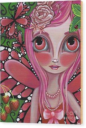 Strawberry Butterfly Fairy Wood Print by Jaz Higgins