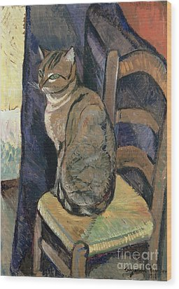 Study Of A Cat Wood Print by Suzanne Valadon