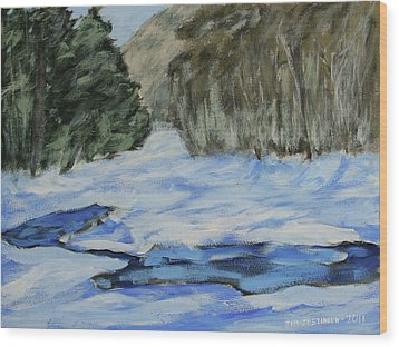 Study Sketch For Winter Creek Wood Print by Jim Justinick