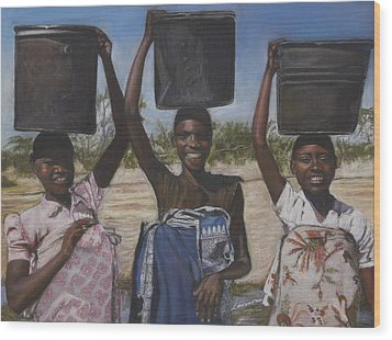 Sudanese Women Coming From The Borehole Wood Print by Leonor Thornton