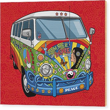 Summer Of Love Wood Print by Ron Magnes