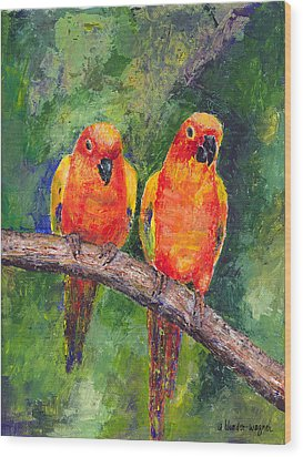 Sun Parakeets Wood Print by Arline Wagner