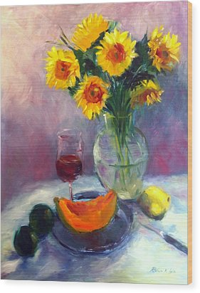 Sunflowers And Cantaloupe Wood Print by Patricia Lyle