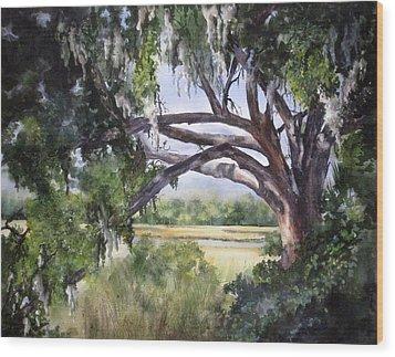 Sunlit Marsh Wood Print by Mary McCullah