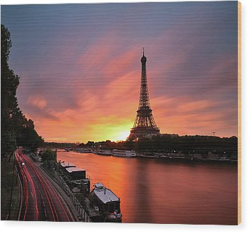 Sunrise At Eiffel Tower Wood Print by © Yannick Lefevre - Photography