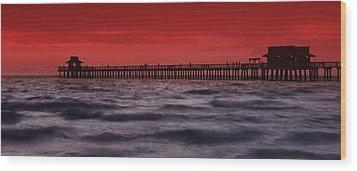 Sunset At Naples Pier Wood Print by Melanie Viola