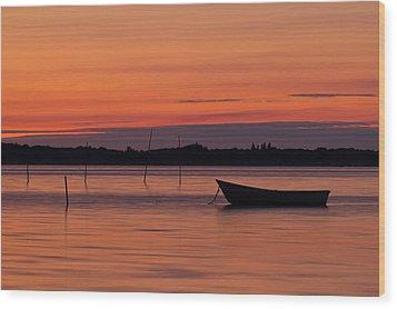 Sunset Boat Wood Print by Gert Lavsen