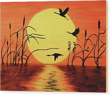 Sunset Geese Wood Print by Teresa Wing