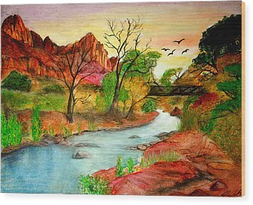 Sunset In Zion Wood Print by Joanna Aud