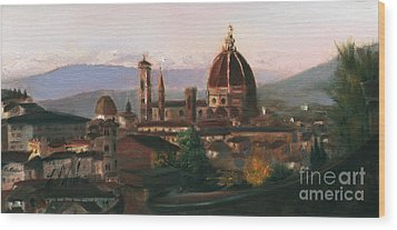 Sunset On The Duomo Wood Print by Leah Wiedemer