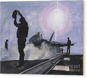Sunset On The Flight Deck Wood Print by Sarah Howland-Ludwig