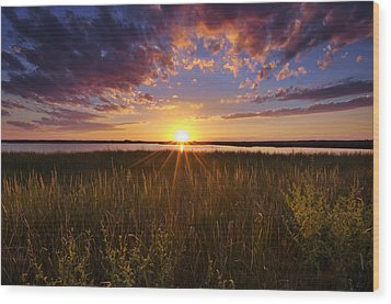 Sunset On The Marsh Wood Print by Joseph Rossbach