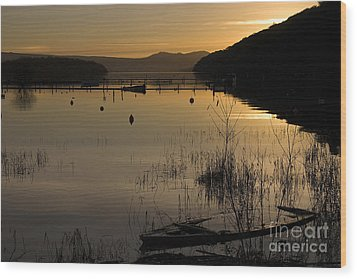 Sunset Over The Lake Wood Print by Carole Lloyd