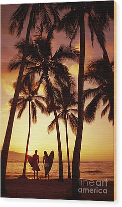 Surfer Couple Wood Print by Dana Edmunds - Printscapes