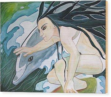 Surfers Wood Print by Kimberly Kirk