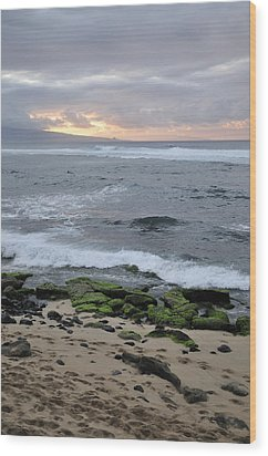 Surfing Sunset Wood Print by Andy Smy