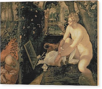 Susanna Bathing Wood Print by Jacopo Robusti Tintoretto