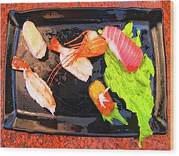 Sushi Plate 2 Wood Print by Dominic Piperata