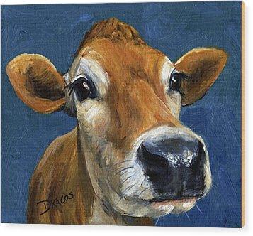 Sweet Jersey Cow Wood Print by Dottie Dracos