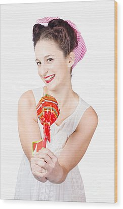 Sweet Lolly Shop Lady Offering Over Red Lollipop Wood Print by Jorgo Photography - Wall Art Gallery
