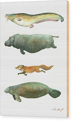 Swimming Animals Wood Print by Juan Bosco