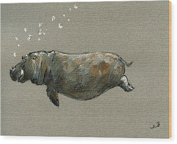 Swimming Hippo Wood Print by Juan  Bosco