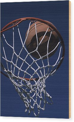 Swish.  A Basketball Wood Print by Stacy Gold