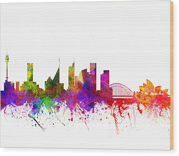 Sydney Australia Cityscape 02 Wood Print by Aged Pixel