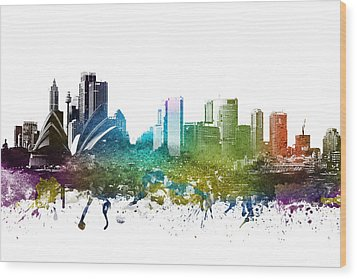 Sydney Cityscape 01 Wood Print by Aged Pixel