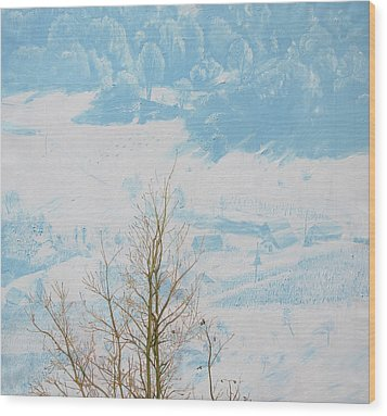 Symphony In The Snow Wood Print by Veronika Logar
