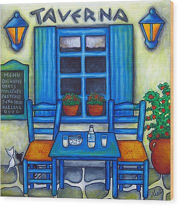 Table For Two In Greece Wood Print by Lisa  Lorenz