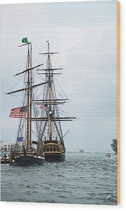 Tall Ships Hms Bounty And Privateer Lynx At Peanut Island Florida Wood Print by Michelle Wiarda