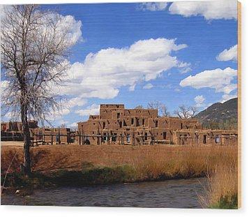 Taos Pueblo Early Spring Wood Print by Kurt Van Wagner