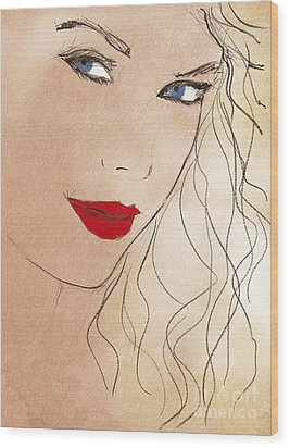 Taylor Red Lips Wood Print by Pablo Franchi