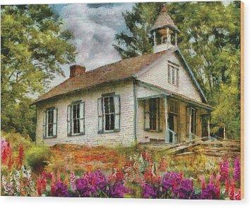 Teacher - The School House Wood Print by Mike Savad