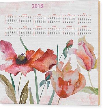 Template For Calendar 2013 Wood Print by Regina Jershova