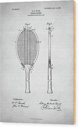 Tennis Racket Patent 1907 Wood Print by Taylan Apukovska
