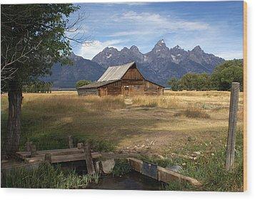 Teton Barn Wood Print by Marty Koch