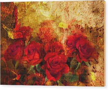 Texture Roses Wood Print by Svetlana Sewell