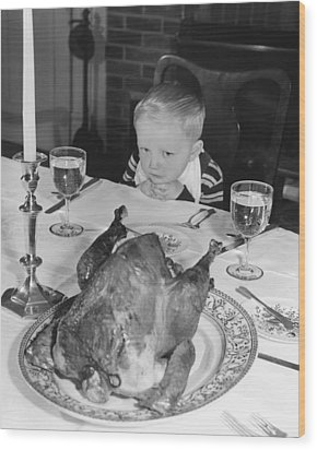 Thanksgiving Dinner Wood Print by American School