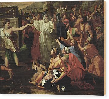 The Adoration Of The Golden Calf Wood Print by Nicolas Poussin