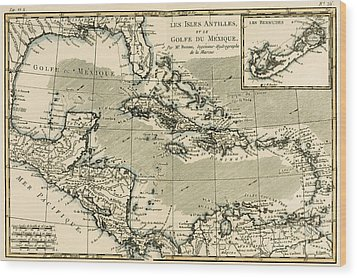 The Antilles And The Gulf Of Mexico Wood Print by Guillaume Raynal